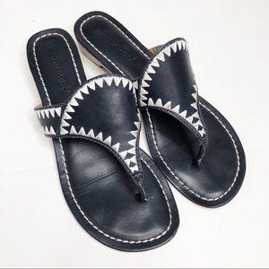 Bernardo Gabi Embroidered Thong Sandals Navy 8M